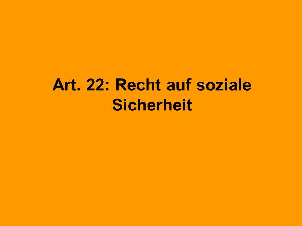 Art. 22: Recht auf soziale Sicherheit