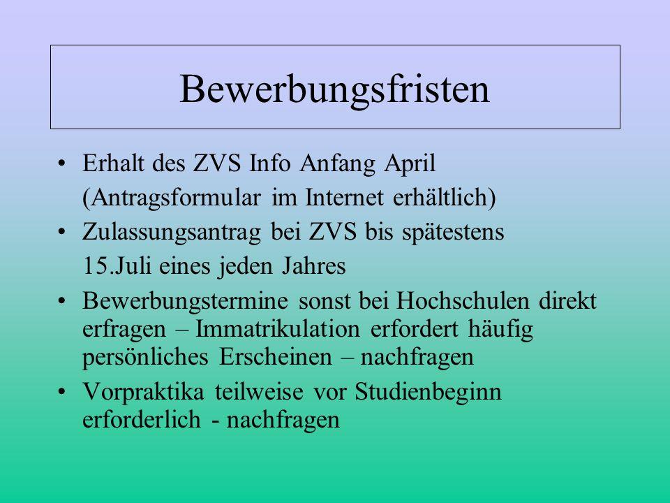 Bewerbungsfristen Erhalt des ZVS Info Anfang April (Antragsformular im Internet erhältlich) Zulassungsantrag bei ZVS bis spätestens 15.Juli eines jede