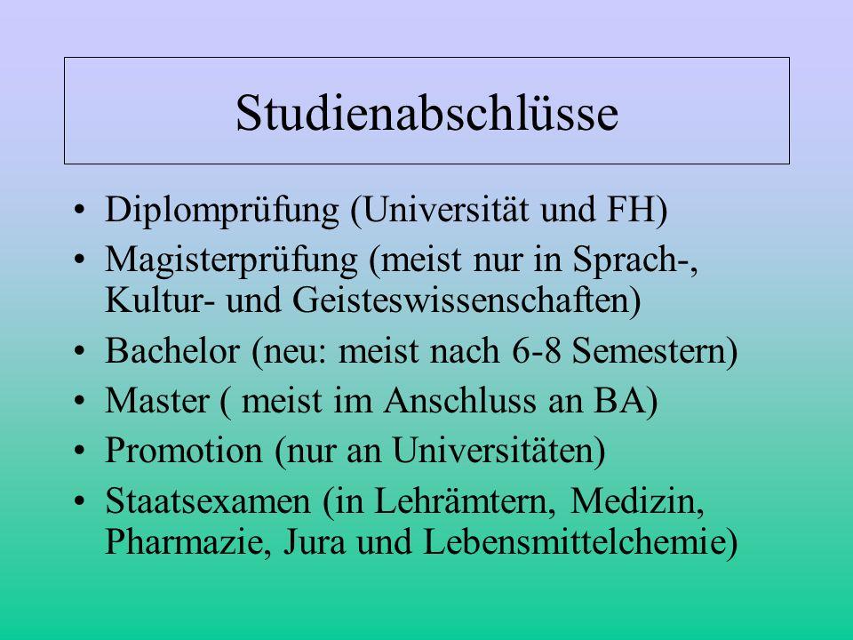 Studienabschlüsse Diplomprüfung (Universität und FH) Magisterprüfung (meist nur in Sprach-, Kultur- und Geisteswissenschaften) Bachelor (neu: meist na