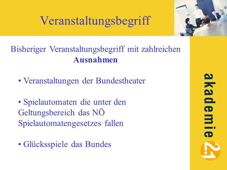 Veranstaltungsbegriff Bisheriger Veranstaltungsbegriff mit zahlreichen Ausnahmen Veranstaltungen der Bundestheater Spielautomaten die unter den Geltun