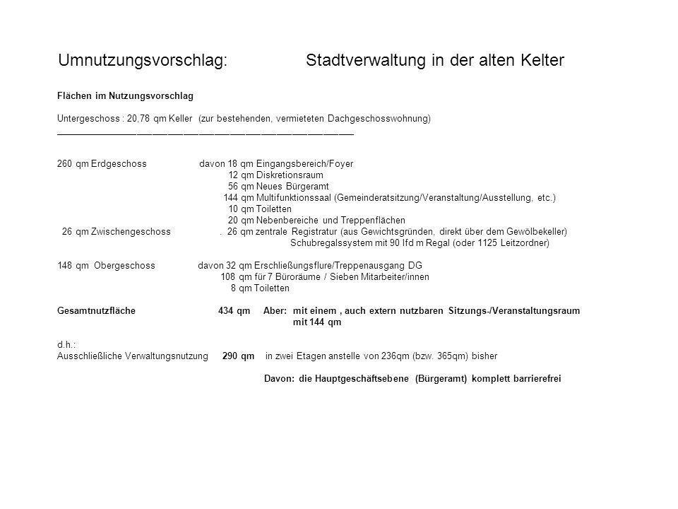 Umnutzungsvorschlag: Stadtverwaltung in der alten Kelter Flächen im Nutzungsvorschlag Untergeschoss : 20,78 qm Keller (zur bestehenden, vermieteten Da