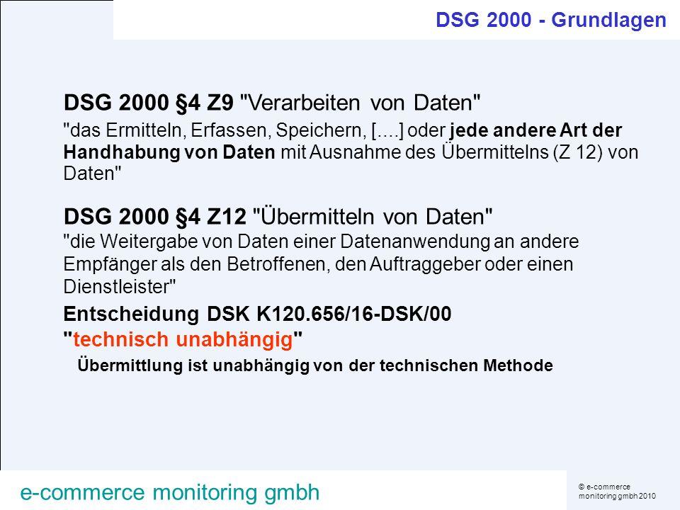 © e-commerce monitoring gmbh 2010 e-commerce monitoring gmbh DSG 2000 §4 Z9