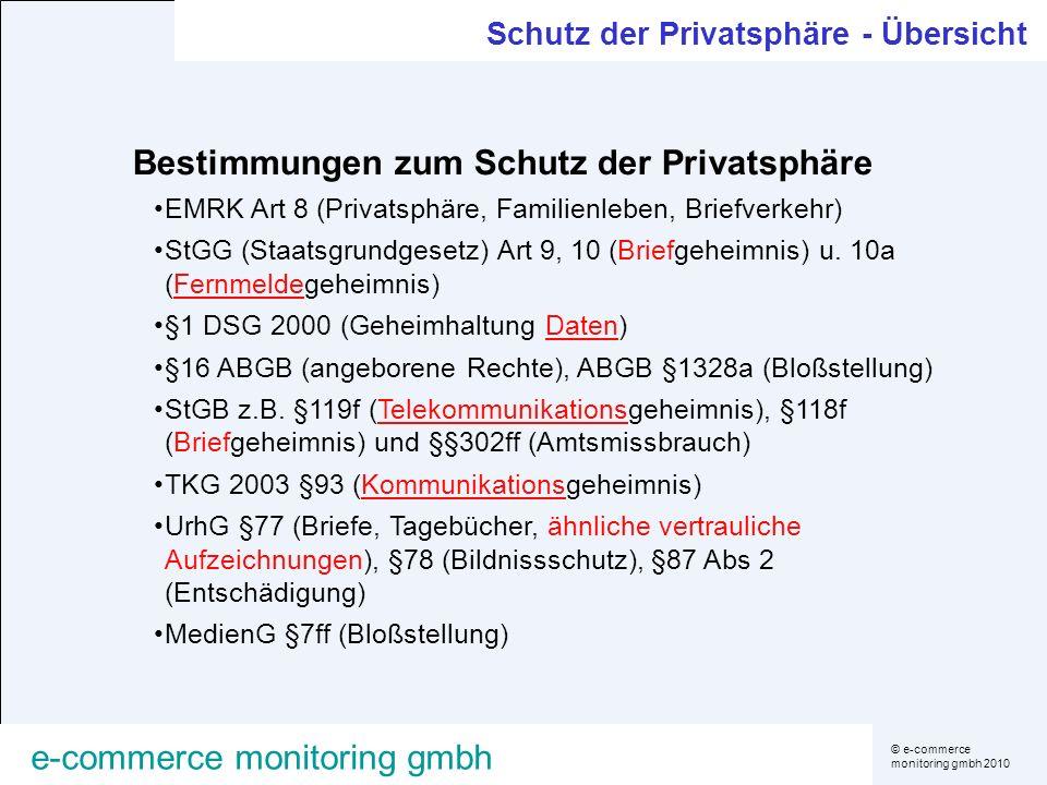 © e-commerce monitoring gmbh 2010 e-commerce monitoring gmbh Bestimmungen zum Schutz der Privatsphäre EMRK Art 8 (Privatsphäre, Familienleben, Briefve