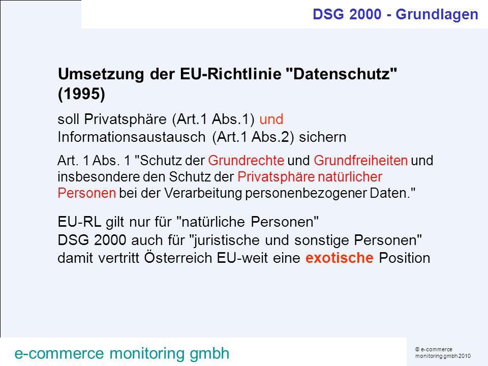 © e-commerce monitoring gmbh 2010 e-commerce monitoring gmbh Umsetzung der EU-Richtlinie