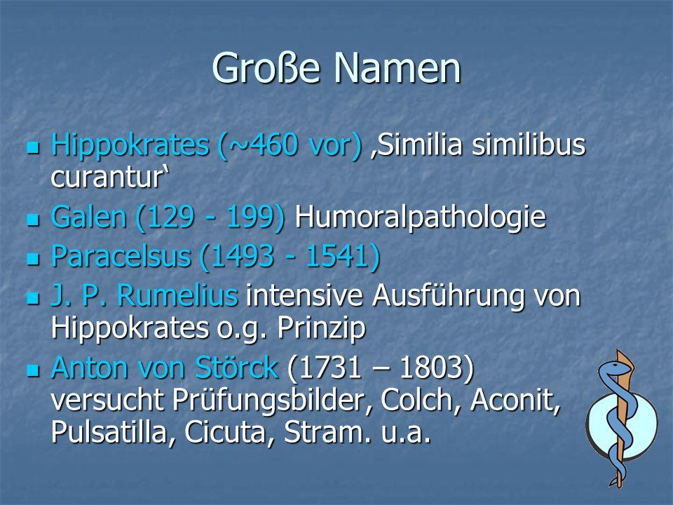 Große Namen Hippokrates (~460 vor) Similia similibus curantur Hippokrates (~460 vor) Similia similibus curantur Galen (129 - 199) Humoralpathologie Galen (129 - 199) Humoralpathologie Paracelsus (1493 - 1541) Paracelsus (1493 - 1541) J.
