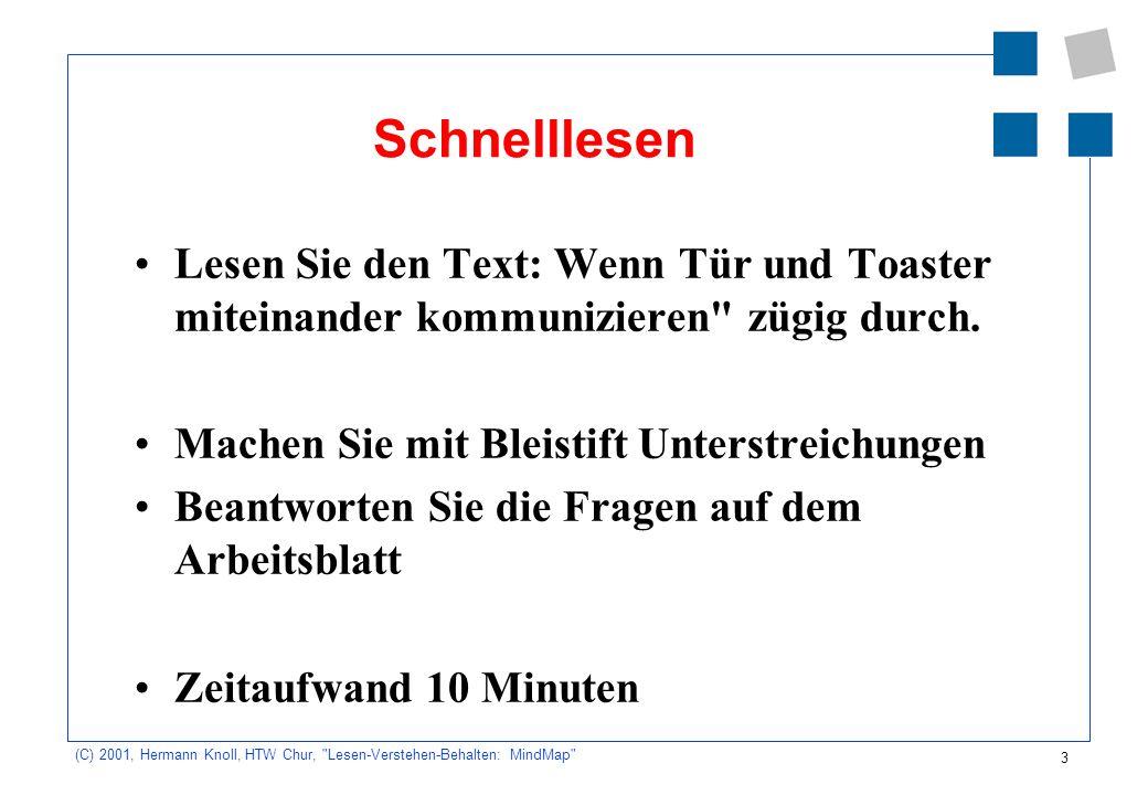 4 (C) 2001, Hermann Knoll, HTW Chur, Lesen-Verstehen-Behalten: MindMap Fragen zum Text: 1.Welche Geräte bzw.