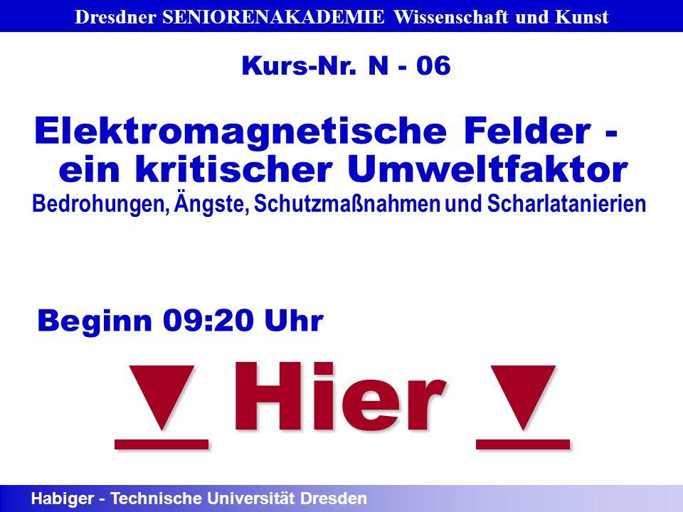 Dresdner SENIORENAKADEMIE Wissenschaft und Kunst Hier Hier Beginn 09:20 Uhr Elektromagnetische Felder - ein kritischer Umweltfaktor Bedrohungen, Ängst