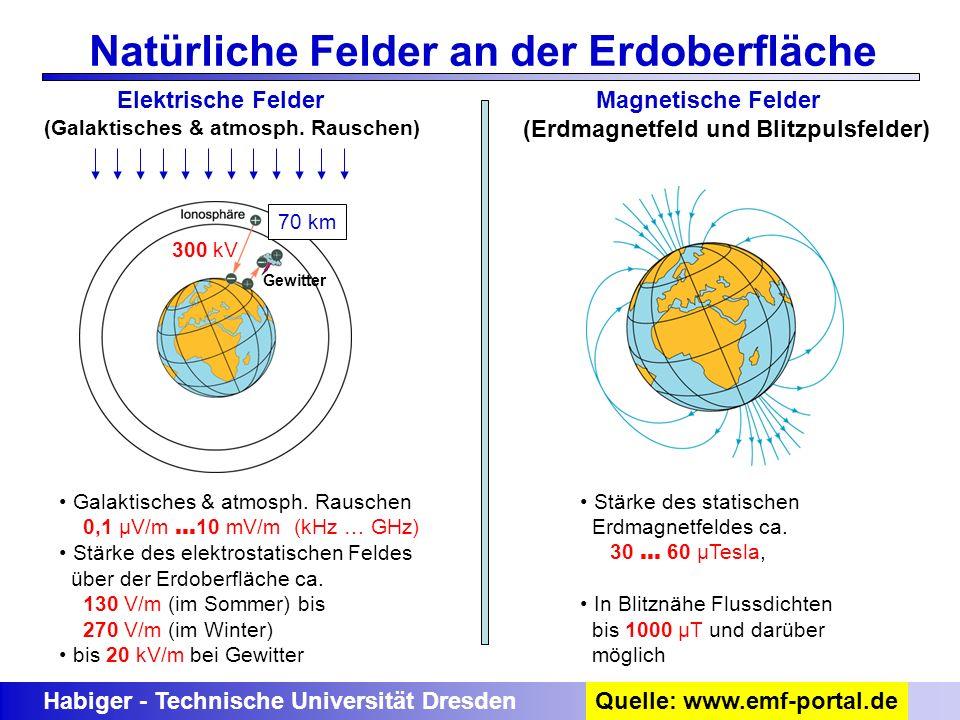 Habiger - Technische Universität Dresden Natürliche Felder an der Erdoberfläche Elektrische Felder (Galaktisches & atmosph. Rauschen) 70 km 300 kV Gal