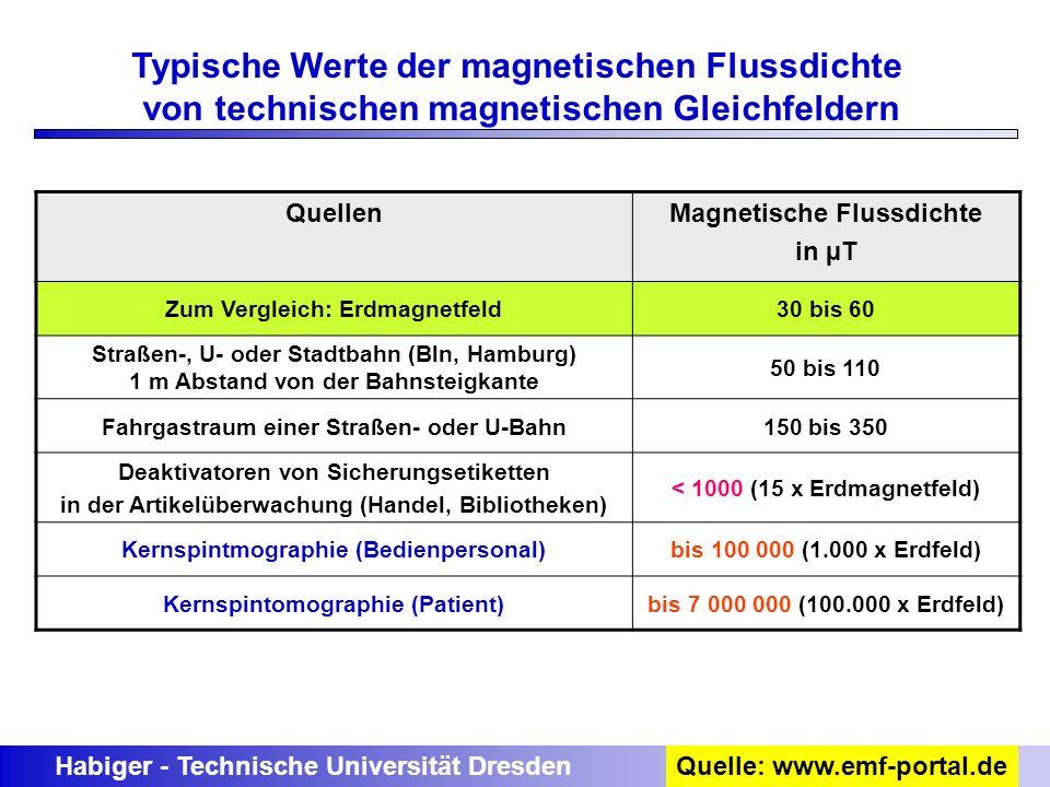 Habiger - Technische Universität DresdenQuelle: www.emf-portal.de Typische Werte der magnetischen Flussdichte von technischen magnetischen Gleichfelde