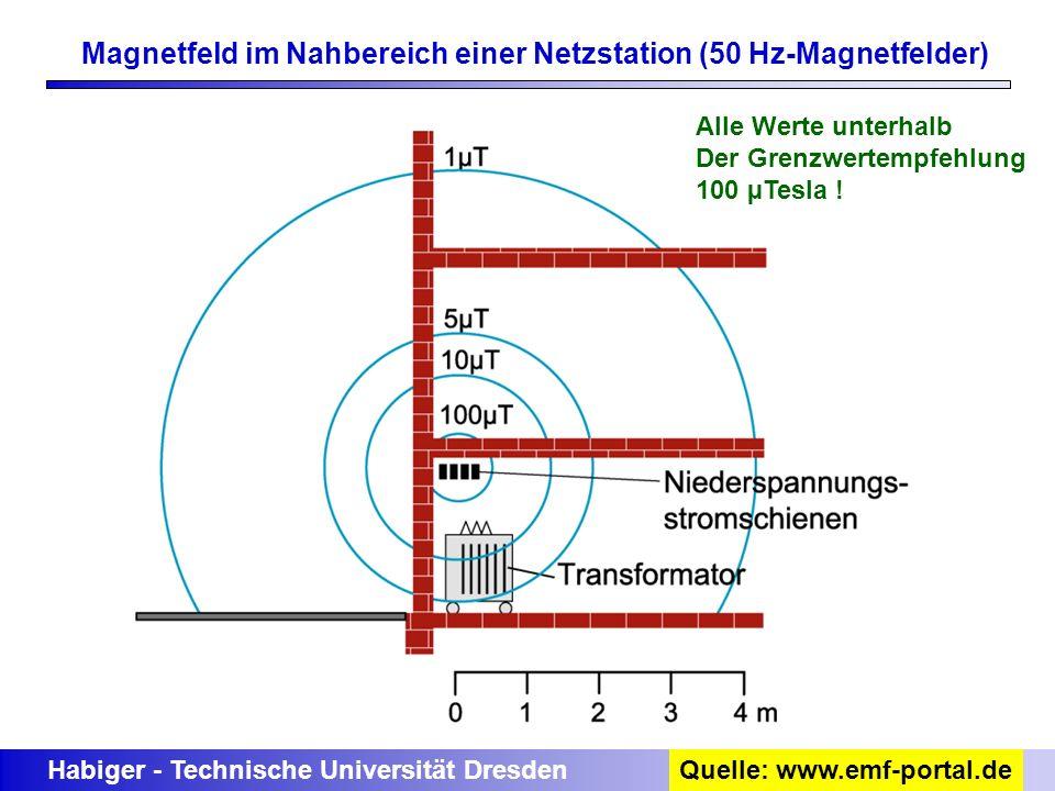 Magnetfeld im Nahbereich einer Netzstation (50 Hz-Magnetfelder) Habiger - Technische Universität DresdenQuelle: www.emf-portal.de Alle Werte unterhalb