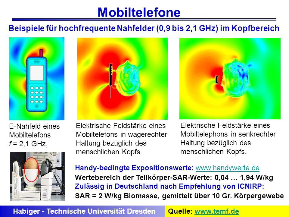 E-Nahfeld eines Mobiltelefons f = 2,1 GHz, Elektrische Feldstärke eines Mobiltelefons in wagerechter Haltung bezüglich des menschlichen Kopfs. Elektri