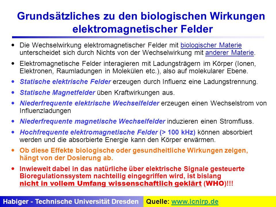 Die Wechselwirkung elektromagnetischer Felder mit biologischer Materie unterscheidet sich durch Nichts von der Wechselwirkung mit anderer Materie. Ele