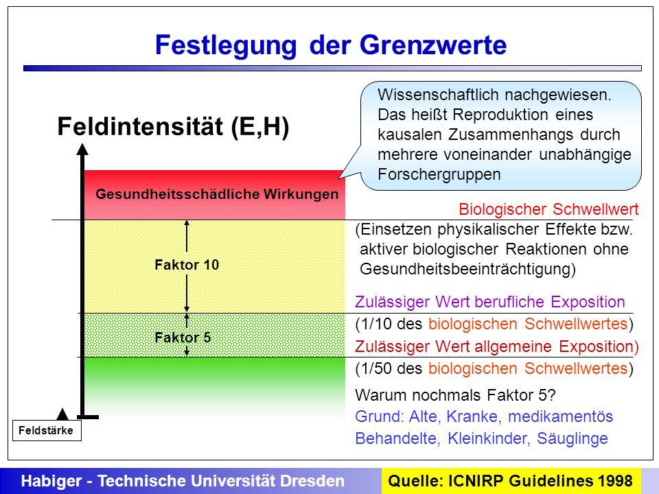 Gesundheitsschädliche Wirkungen Faktor 10 Faktor 5 Biologischer Schwellwert (Einsetzen physikalischer Effekte bzw. aktiver biologischer Reaktionen ohn