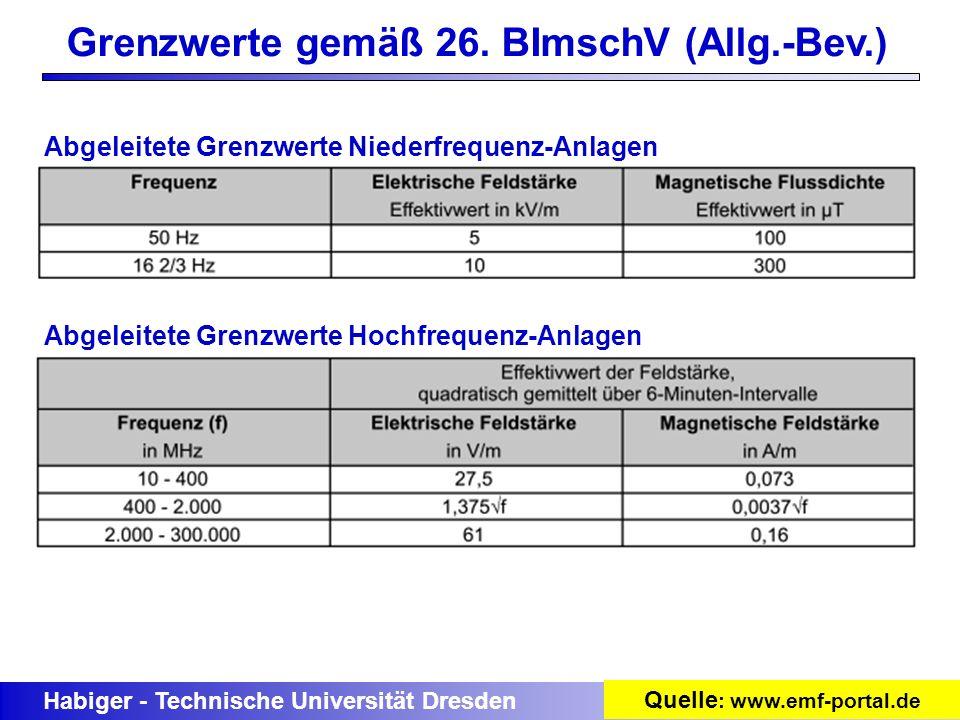Habiger - Technische Universität Dresden Grenzwerte gemäß 26. BImschV (Allg.-Bev.) Abgeleitete Grenzwerte Niederfrequenz-Anlagen Abgeleitete Grenzwert