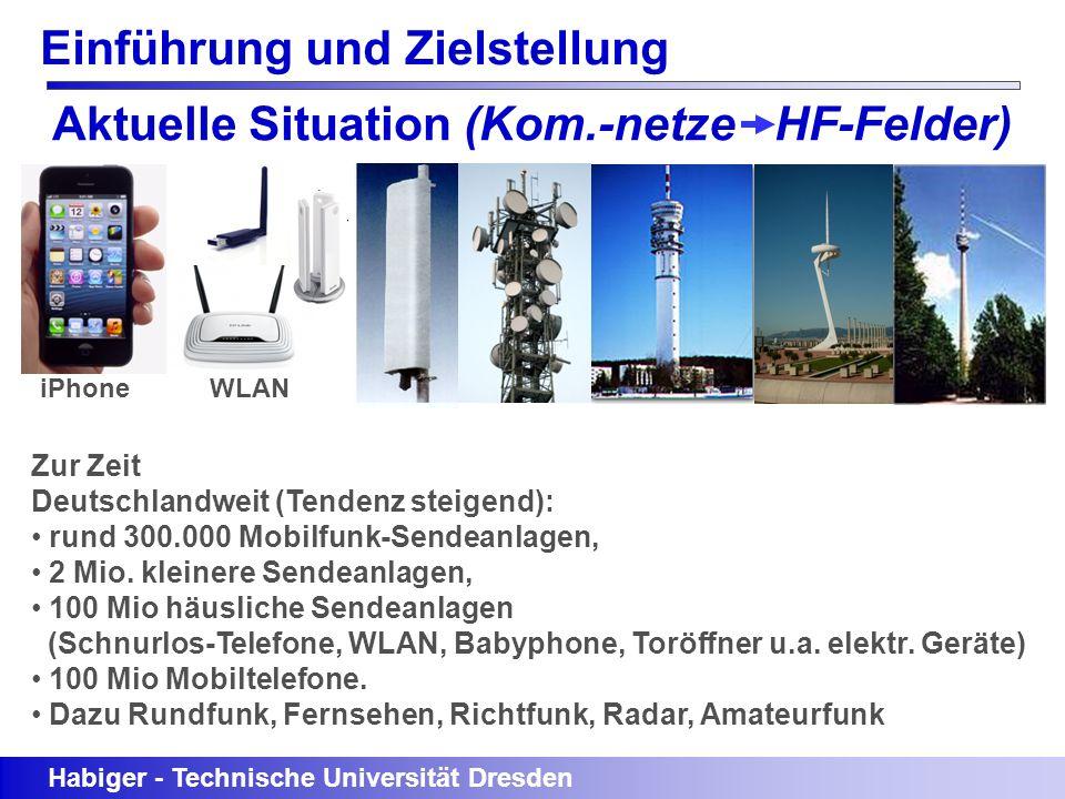 Einführung und Zielstellung Aktuelle Situation (Kom.-netze HF-Felder) Habiger - Technische Universität Dresden iPhone WLAN Zur Zeit Deutschlandweit (T