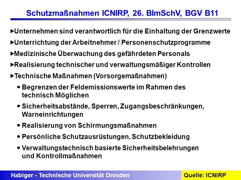 Habiger - Technische Universität DresdenQuelle: ICNIRP Schutzmaßnahmen ICNIRP, 26. BImSchV, BGV B11 Unternehmen sind verantwortlich für die Einhaltung