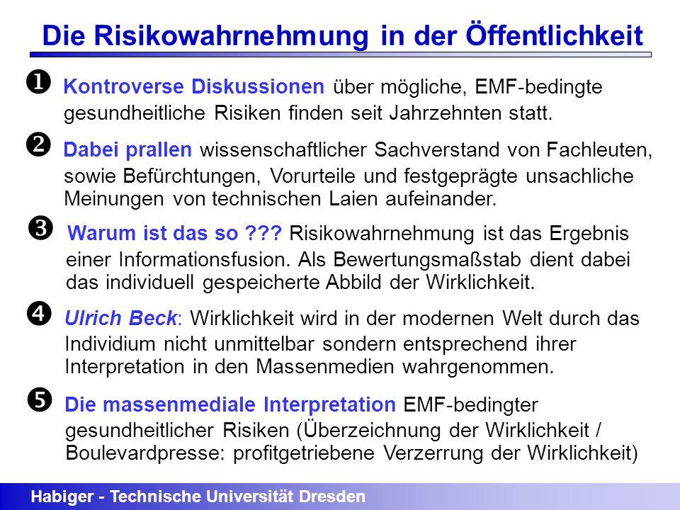 Habiger - Technische Universität Dresden Die Risikowahrnehmung in der Öffentlichkeit Kontroverse Diskussionen über mögliche, EMF-bedingte gesundheitli