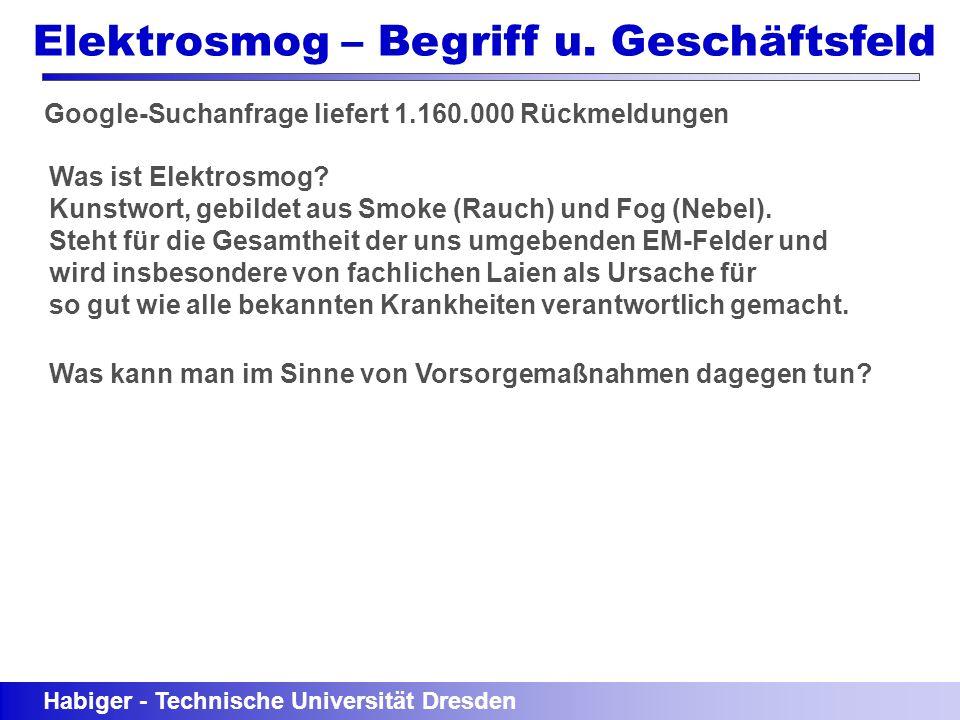 Habiger - Technische Universität Dresden Elektrosmog – Begriff u. Geschäftsfeld Google-Suchanfrage liefert 1.160.000 Rückmeldungen Was ist Elektrosmog