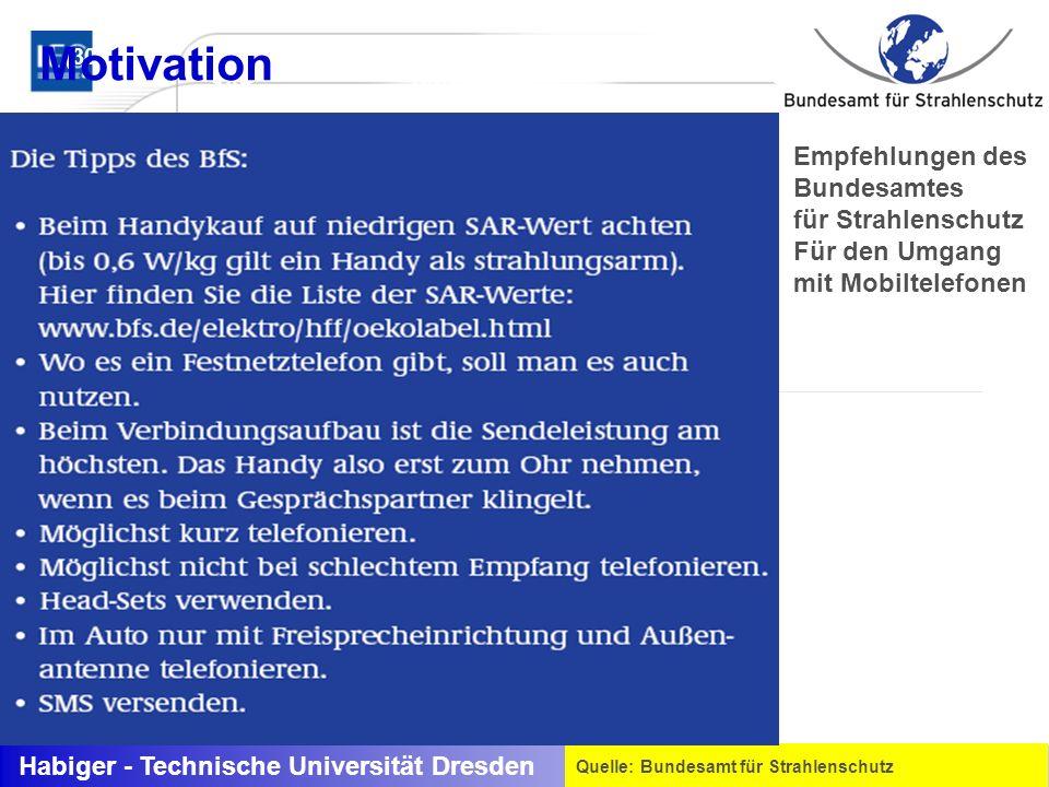 Habiger - Technische Universität Dresden Quelle: Bundesamt für Strahlenschutz (<0Hz bis 30 kHz) Stromdichte J (30 kHz bis 300 GHz) SAR Empfehlungen de