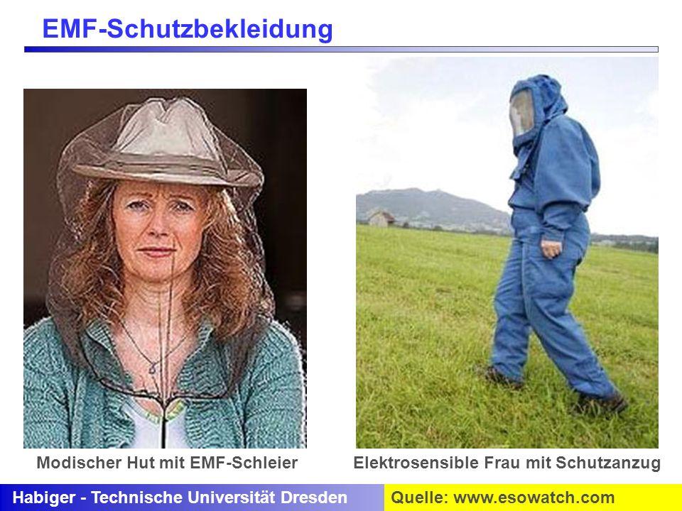 Habiger - Technische Universität DresdenQuelle: www.esowatch.com Modischer Hut mit EMF-SchleierElektrosensible Frau mit Schutzanzug EMF-Schutzbekleidu