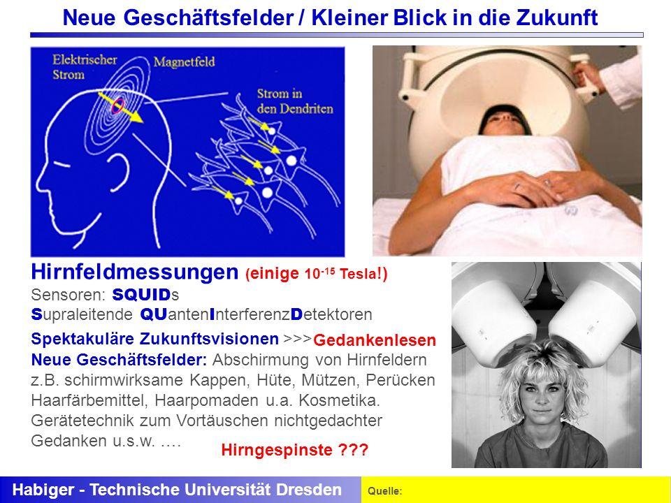Habiger - Technische Universität Dresden Quelle: (30 kHz bis 300 GHz) SAR Hirnfeldmessungen ( einige 10 -15 Tesla !) Sensoren: SQUID s S upraleitende