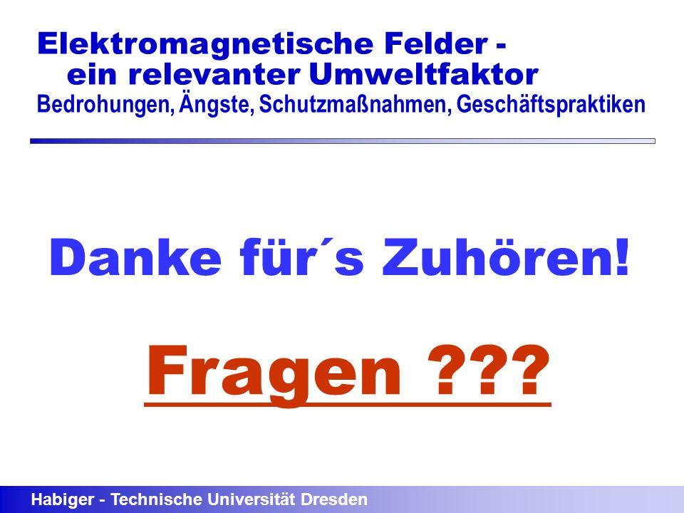 Habiger - Technische Universität Dresden Elektromagnetische Felder - ein relevanter Umweltfaktor Bedrohungen, Ängste, Schutzmaßnahmen, Geschäftsprakti