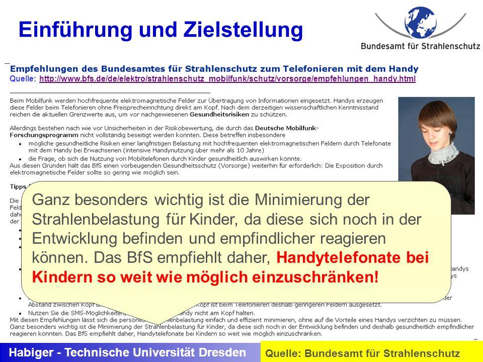 Habiger - Technische Universität Dresden Quelle: Bundesamt für Strahlenschutz (30 kHz bis 300 GHz) SAR Ganz besonders wichtig ist die Minimierung der
