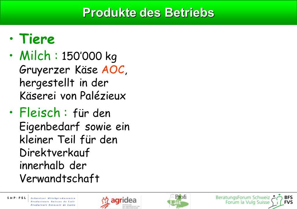 Produkte des Betriebs Tiere Milch : 150000 kg Gruyerzer Käse AOC, hergestellt in der Käserei von Palézieux Fleisch : für den Eigenbedarf sowie ein kle