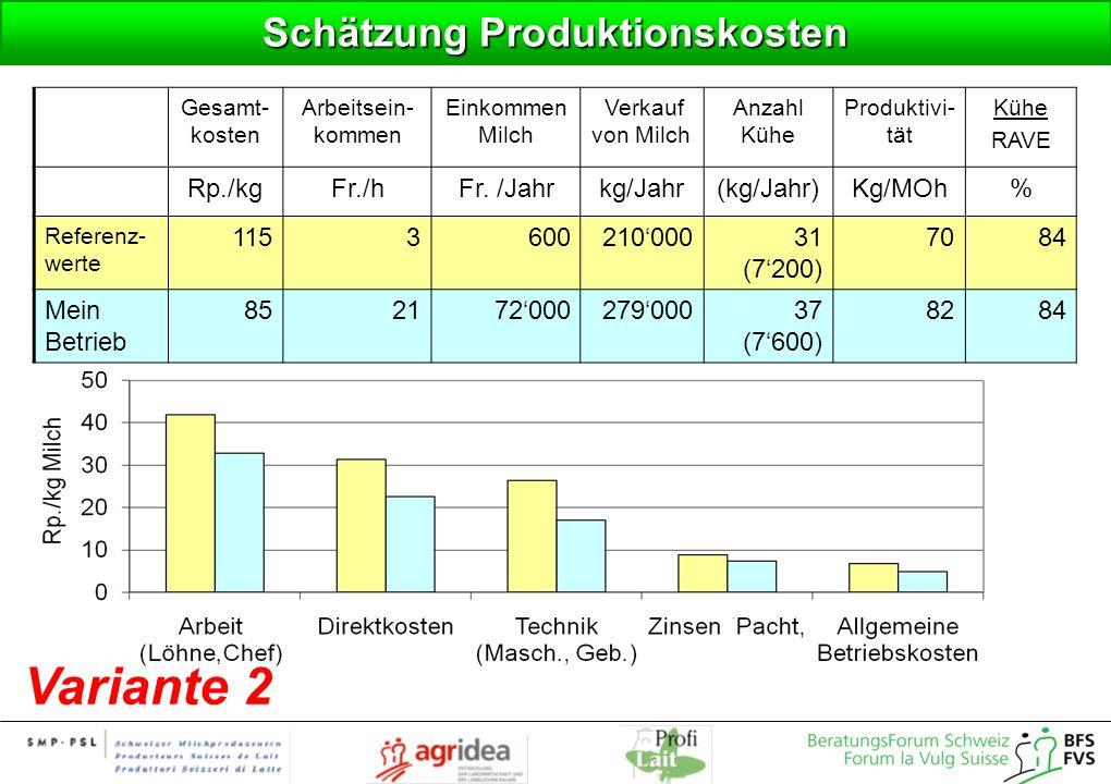 Schätzung Produktionskosten Variante 2 Gesamt- kosten Arbeitsein- kommen Einkommen Milch Verkauf von Milch Anzahl Kühe Produktivi- tät Kühe RAVE Rp./k