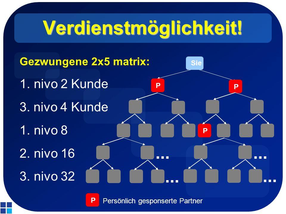 Verdienstmöglichkeit! Gezwungene 2x5 matrix: 1.nivo 2 Kunde 3. nivo 4 Kunde 1.nivo 8 2.nivo 16 3.nivo 32 Sie P P P... P Persönlich gesponserte Partner