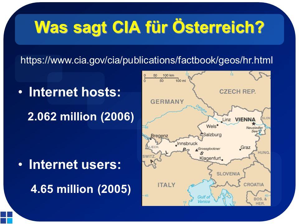 Was sagt CIA für Österreich? Internet hosts: 2.062 million (2006) Internet users: 4.65 million (2005) https://www.cia.gov/cia/publications/factbook/ge
