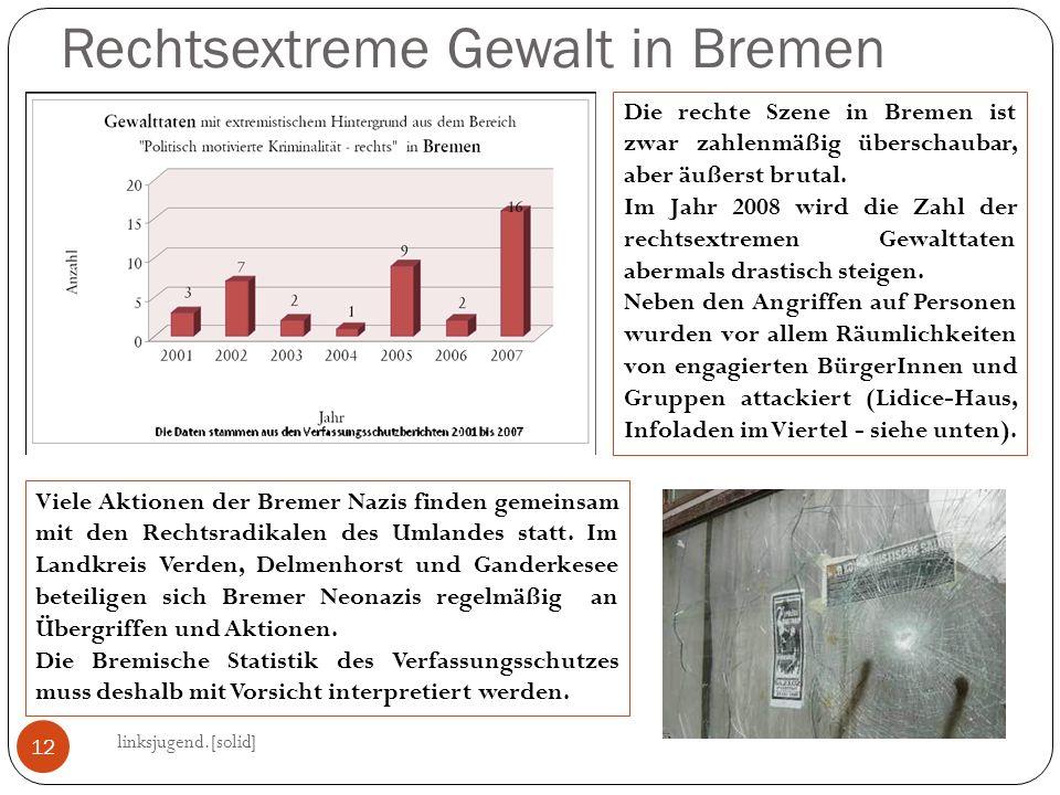 Rechtsextreme Gewalt in Bremen linksjugend.[solid] 12 Die rechte Szene in Bremen ist zwar zahlenmäßig überschaubar, aber äußerst brutal. Im Jahr 2008