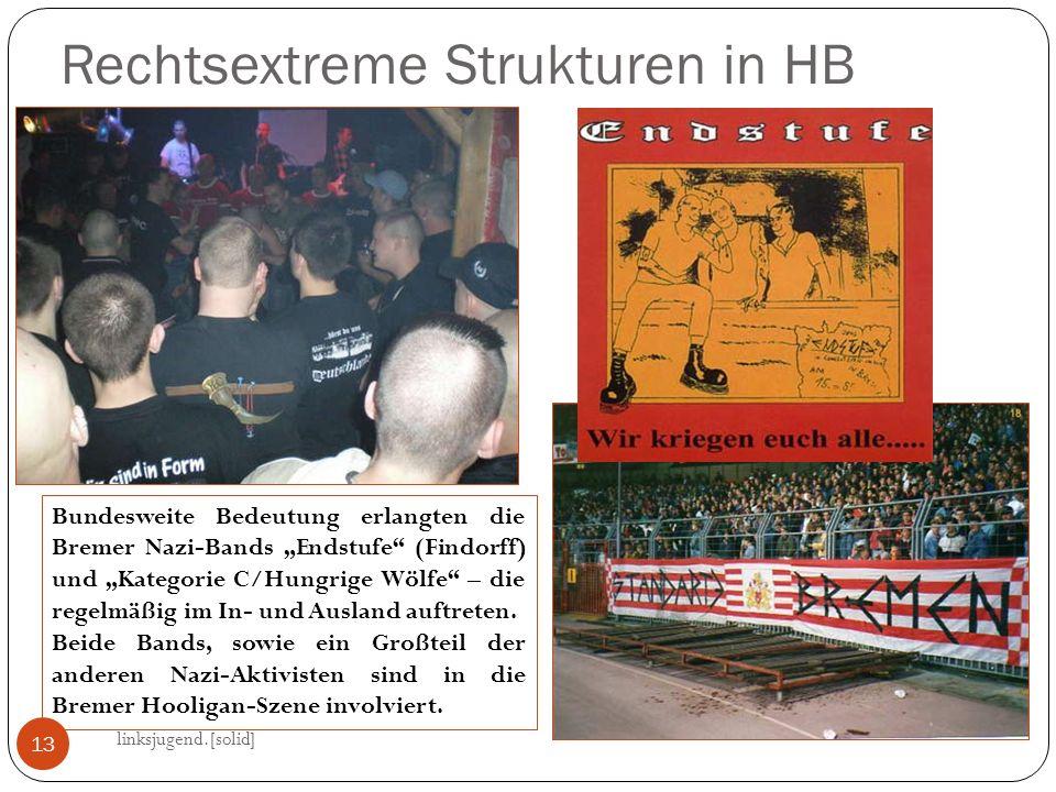 Rechtsextreme Strukturen in HB linksjugend.[solid] 13 Bundesweite Bedeutung erlangten die Bremer Nazi-Bands Endstufe (Findorff) und Kategorie C/Hungrige Wölfe – die regelmäßig im In- und Ausland auftreten.