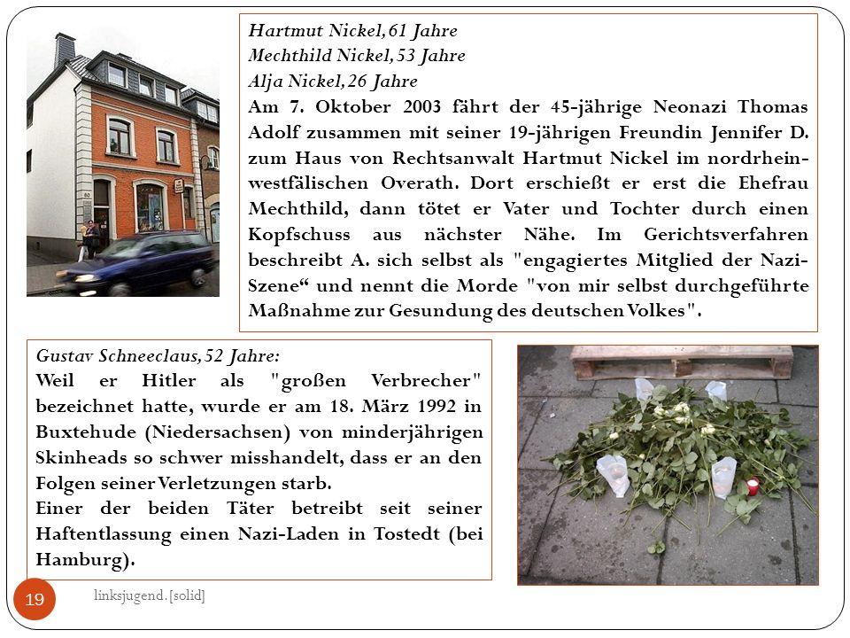 19 Hartmut Nickel, 61 Jahre Mechthild Nickel, 53 Jahre Alja Nickel, 26 Jahre Am 7.