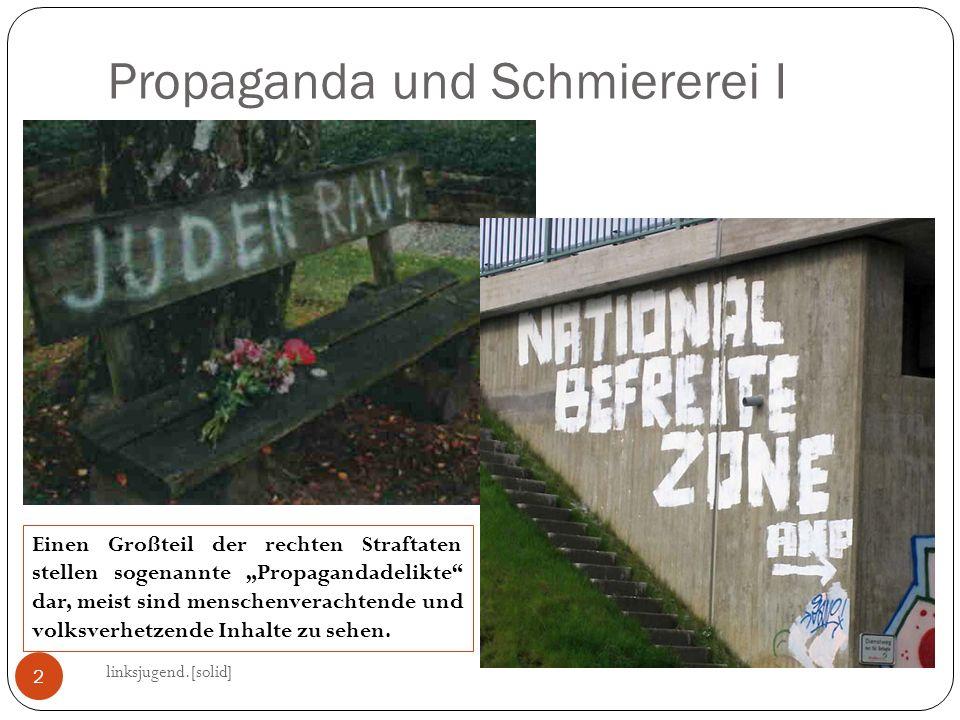 Propaganda und Schmiererei I linksjugend.[solid] 2 Einen Großteil der rechten Straftaten stellen sogenannte Propagandadelikte dar, meist sind menschen