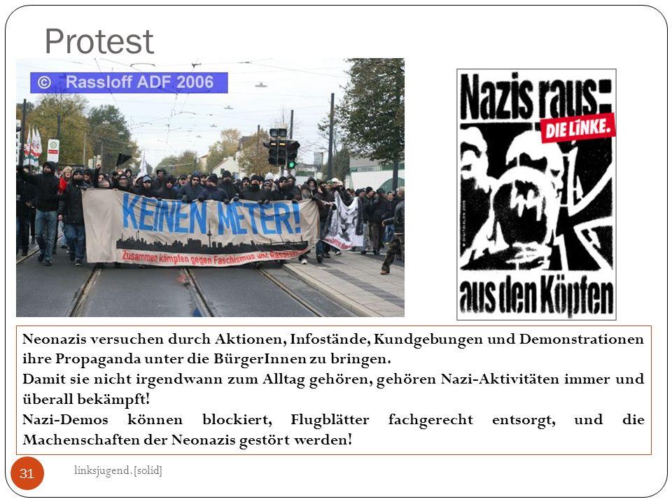 Protest linksjugend.[solid] 31 Neonazis versuchen durch Aktionen, Infostände, Kundgebungen und Demonstrationen ihre Propaganda unter die BürgerInnen zu bringen.