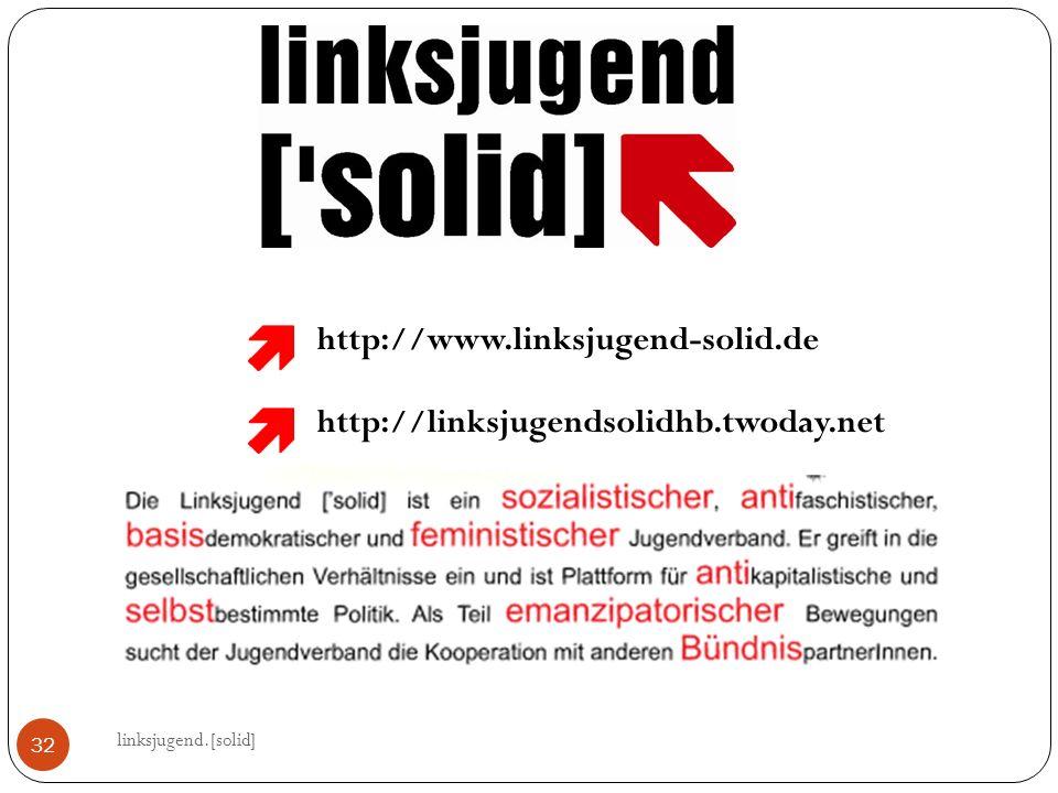 linksjugend.[solid] 32 http://www.linksjugend-solid.de http://linksjugendsolidhb.twoday.net