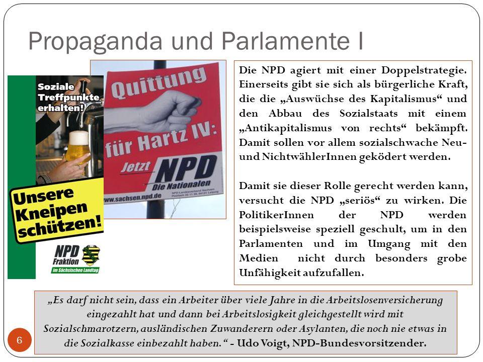 Propaganda und Parlamente I 6 Die NPD agiert mit einer Doppelstrategie. Einerseits gibt sie sich als bürgerliche Kraft, die die Auswüchse des Kapitali