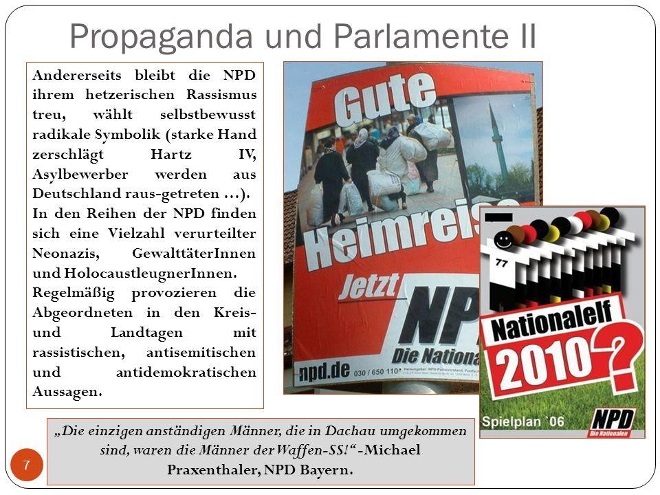 Propaganda und Parlamente II 7 Andererseits bleibt die NPD ihrem hetzerischen Rassismus treu, wählt selbstbewusst radikale Symbolik (starke Hand zerschlägt Hartz IV, Asylbewerber werden aus Deutschland raus-getreten …).