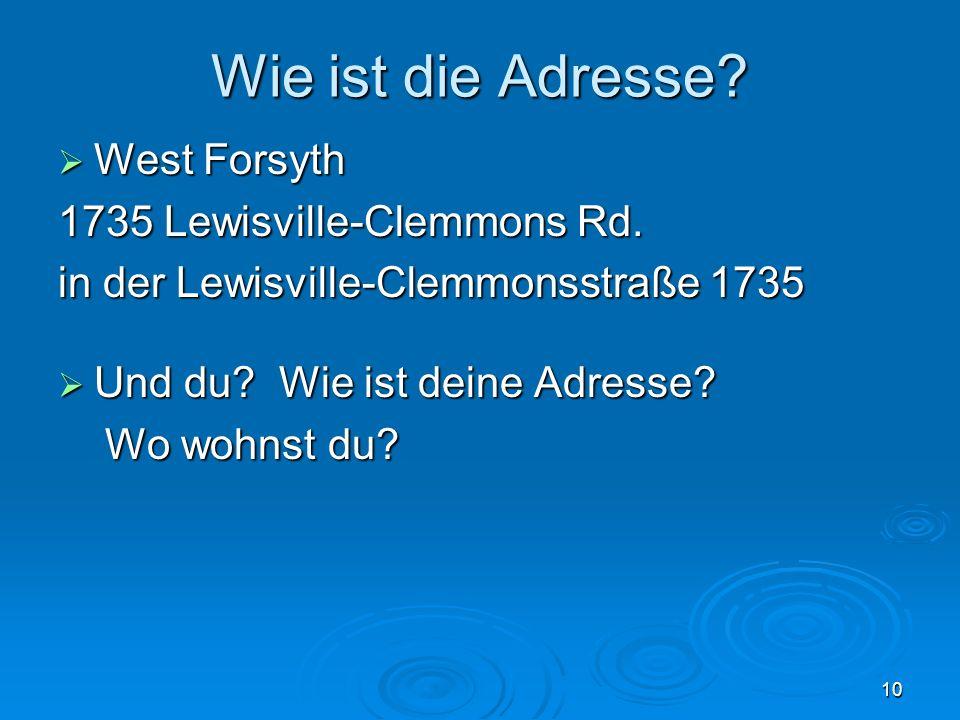 Wie ist die Adresse. West Forsyth West Forsyth 1735 Lewisville-Clemmons Rd.