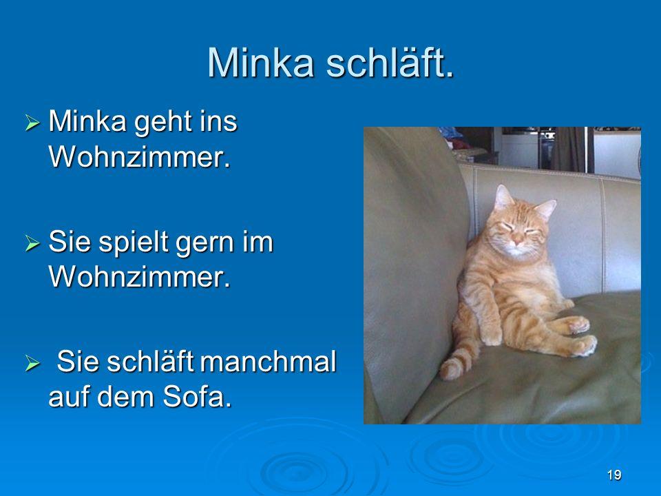 Minka schläft. Minka geht ins Wohnzimmer. Minka geht ins Wohnzimmer.