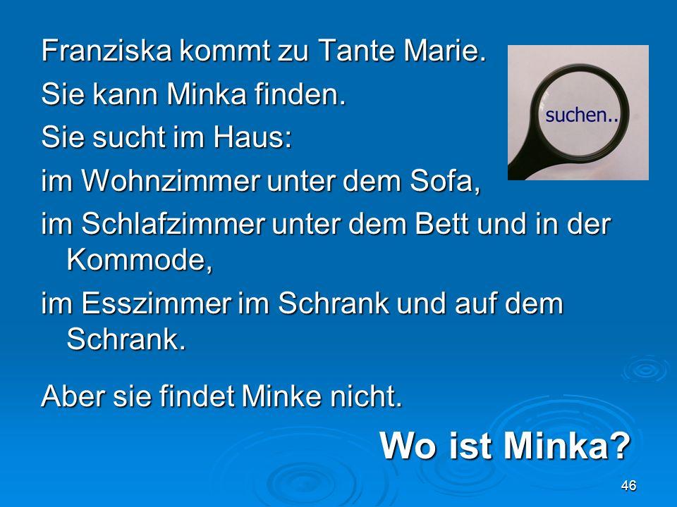 Franziska kommt zu Tante Marie. Sie kann Minka finden.
