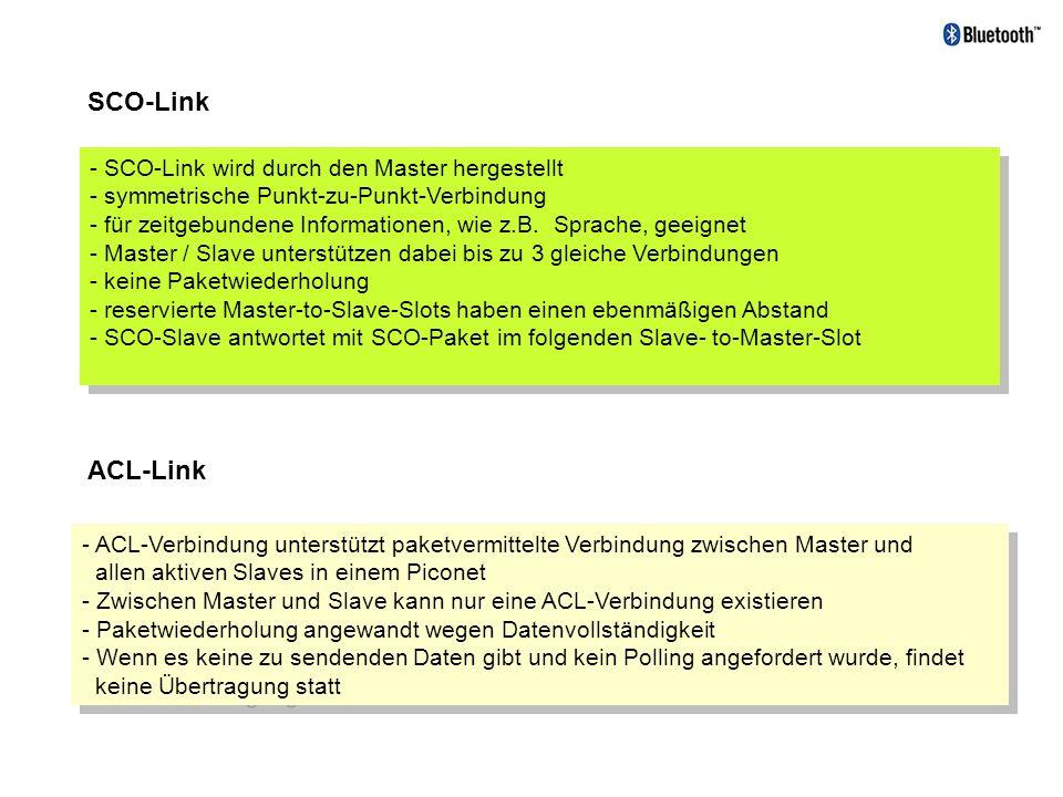 SCO-Link ACL-Link - SCO-Link wird durch den Master hergestellt - symmetrische Punkt-zu-Punkt-Verbindung - für zeitgebundene Informationen, wie z.B. Sp