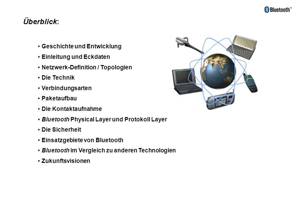 Geschichte und Entwicklung - nach dem dänischen Wikingerkönig Blaatand (Blauzahn) benannte - 1984 entwickelten bereits zwei Telefonmittarbeiter von ERICSSON das Verfahren - 1994 ERICSSON startet Studie mit dem Ziel eines low-power, low.cost Radio Interfaces zwischen Mobiltelefonen und dem Zubehör ohne Kabeln.