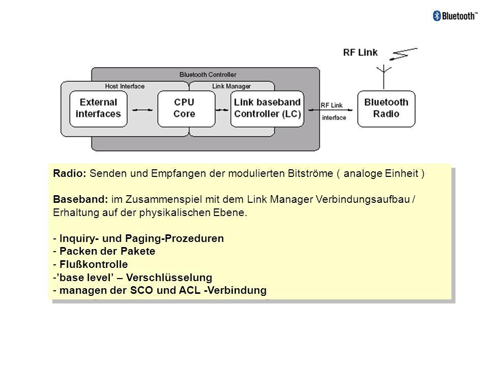 Radio: Senden und Empfangen der modulierten Bitströme ( analoge Einheit ) Baseband: im Zusammenspiel mit dem Link Manager Verbindungsaufbau / Erhaltun
