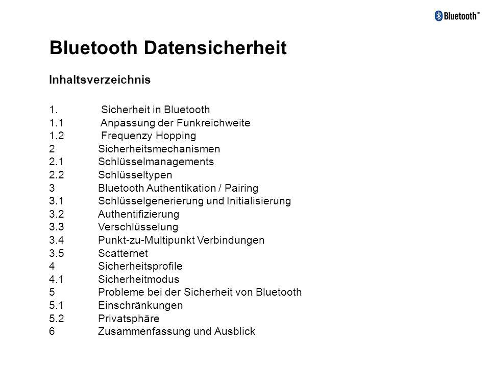 Bluetooth Datensicherheit Inhaltsverzeichnis für Nachrichtenübermittlung 29.11.2000 1. Sicherheit in Bluetooth 1.1 Anpassung der Funkreichweite 1.2 Fr