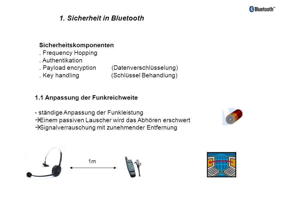 Sicherheitskomponenten. Frequency Hopping. Authentikation. Payload encryption (Datenverschlüsselung). Key handling (Schlüssel Behandlung) 1. Sicherhei