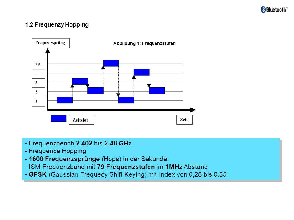 1.2 Frequenzy Hopping Abbildung 1: Frequenzstufen - Frequenzberich 2,402 bis 2,48 GHz - Frequence Hopping - 1600 Frequenzsprünge (Hops) in der Sekunde