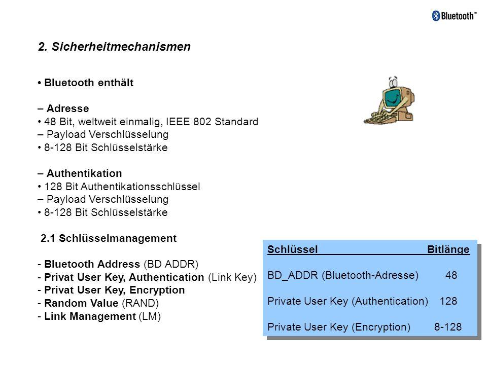 2. Sicherheitmechanismen Bluetooth enthält – Adresse 48 Bit, weltweit einmalig, IEEE 802 Standard – Payload Verschlüsselung 8-128 Bit Schlüsselstärke