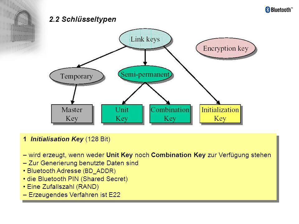 2.2 Schlüsseltypen 1 Initialisation Key (128 Bit) – wird erzeugt, wenn weder Unit Key noch Combination Key zur Verfügung stehen – Zur Generierung benu
